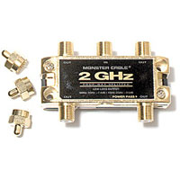 Monster 2 Gigahertz Low-Loss 4 Way RF Splitters for TV & Satellite - TGHZ-4RF / TGHZ4RF - IN STOCK