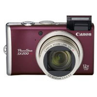 Canon PowerShot 12.1 Megapixel Digital Camera (Red) - PowerShot SX200 IS / SX200RE - IN STOCK