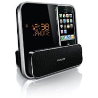 Philips Speaker System for iPod/iPhone with LED Clock Radio (Black) - DC315 - IN STOCK