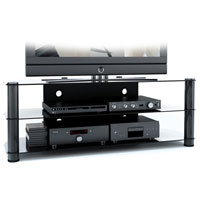 Corporate Images Gun Metal and Glass TV Stand for 50 in.-65 in. Flat Panel TVs - NY-9584 / NY9584 - IN STOCK