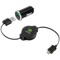 Emerge Tech Retractable Mini USB Car Charger With Micro USB - ETCHGTABC - IN STOCK
