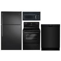 Frigidaire 4 Pc. Black Top Freezer Kitchen Package - FRIGKITBKTM - IN STOCK
