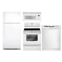 Frigidaire 4 Pc. White Top Freezer Kitchen Package - FRIGKITWTTM - IN STOCK