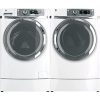 G.E. White Risered Front Load Washer/Dryer Pair - GFWR4800WPR - IN STOCK