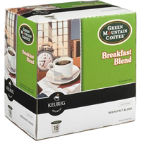 Keurig Green Mountain Coffee Breakfast Blend Coffee 18 K-Cup Pack - 00520 / GMBRKFST - IN STOCK