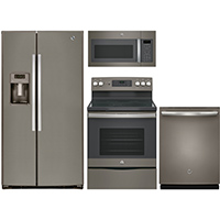 G.E. 4 Pc. Slate Side-by-side Kitchen Package - GESLATESXSKT - IN STOCK