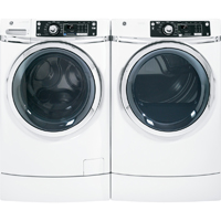 G.E. White Risered Front Load Washer/Dryer Pair - GFWR2700HWPR - IN STOCK