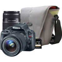 Canon EOS Rebel SL1 18.0 MP DSLR W/ EF-S 18-55mm IS II Kit Lens and 55-250mm F/4-5.6 IS BUNDLE - REBELSL1PK1