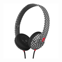 Skull Candy Uprock On-the-ear Headphone(Polkadot Charcoal & Red) - S5URFZ428 - IN STOCK