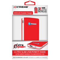 Xtreme Ultra Slim USB Power Bank(Red) - 89385 - IN STOCK