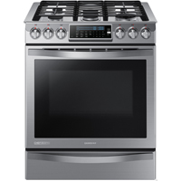 Samsung Chef Collection NX58H9950WS 5.8 Cu. Ft Stainless 5 Burner Slide-In Gas Range - NX58H9950WS - IN STOCK