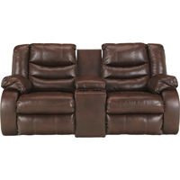 Ashley Signature Design Linebacker Espresso DuraBlend Double Reclining Console Loveseat - 9520194 - IN STOCK
