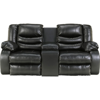 Ashley Signature Design 9520294 Linebacker Black DuraBlend Double Reclining Console Loveseat - 9520294 / 9520294 - IN STOCK