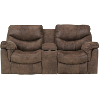 Ashley Signature Design 7140096 Alzena Gunsmoke Contemporary Power Double Reclining Loveseat - 7140096 / 7140096 - IN STOCK