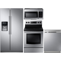 Samsung 4 Pc. Stainless Side-by-Side Kitchen Package - RS25J500SKIT - IN STOCK