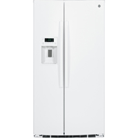 G.E. GSE25HGHWW 25.4 Cu. Ft. White Side-By-Side Refrigerator - GSE25HGHWW - IN STOCK