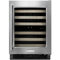 Kitchen Aid KUWR204ESB 24 in. Stainless Glass Front Wine Cellar with Wood Front Racks - KUWR204ESB - IN STOCK