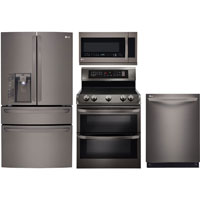 LG 4 Pc. Black Stainless French Door Kitchen Package - LG23BSDBLKIT - IN STOCK
