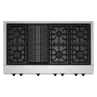 Kitchen Aid KGCU482VSS 48 in. Stainless 6 Burner Commercial Style Gas Rangetop with Grill - KGCU482VSS - IN STOCK
