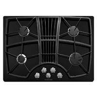 Kitchen Aid Architect II KGCD807XBL 30 in. Black 4 Burner Downdraft Gas Cooktop - KGCD807XBL - IN STOCK