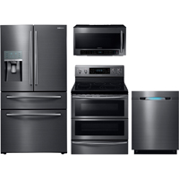 Samsung 4 Pc. Black Stainless Kitchen Package - RF28JBBSKIT - IN STOCK