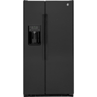G.E. GZS22DGJBB 21.9 Cu.Ft. Black Counter-Depth Side-by-Side Refrigerator - GZS22DGJBB - IN STOCK