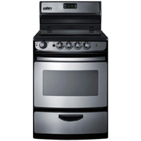 Summit REX245SS 24 in. Stainless Freestanding Electric Smoothtop Range - REX245SS - IN STOCK