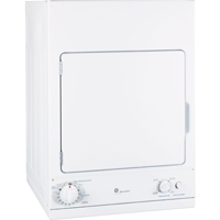 G.E. DSKS433EBWW 3.6 Cu. Ft. White Space Saving Electric Dryer - DSKS433EBWW - IN STOCK