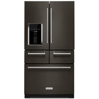 Kitchen Aid KRMF706EBS 25.8 Cu. Ft. Black Stainless Platinum Interior French Door Refrigerator - KRMF706EBS - IN STOCK