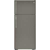 G.E. GTE18GMHES 18 Cu. Ft. Slate Top Freezer Refrigerator - GTE18GMHES - IN STOCK