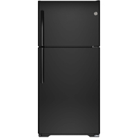 G.E. GIE18ETHBB 18.2 Cu. Ft. Black Top Freezer Refrigerator - GIE18ETHBB - IN STOCK