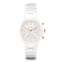 Caravelle New York Womens White Ceramic Finish Chronograph Watch - 45L144 - IN STOCK