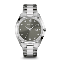 Bulova Mens Stainless Steel Diamond Watch - 96D122 - IN STOCK