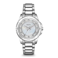 Bulova Womens Stainless Steel Diamond Watch - 96P144 - IN STOCK