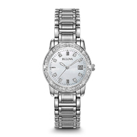 Bulova Womens Stainless Steel Diamond Watch - 96R105 - IN STOCK