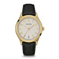 Bulova Mens Gold Finish Watch with Leather Strap - 97B147 - IN STOCK