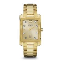 Bulova Mens Gold Finish Diamond Watch - 97D107 - IN STOCK