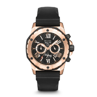 Bulova Mens Rose Gold Finish Marine Star Chronograph Watch with Rubber Strap - 98B104 - IN STOCK