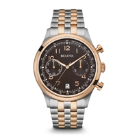Bulova Mens Silver & Rose Gold Finish Chronograph Watch - 98B248 - IN STOCK
