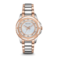 Bulova Womens Silver & Rose Gold Diamond Watch - 98P134 - IN STOCK