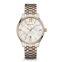 Bulova Womens Silver & Rose Gold Diamond Watch - 98P150 - IN STOCK