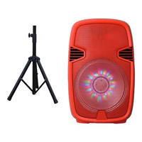 Supersonic 15 in. Portable Bluetooth DJ Speaker With Stand - Red - IQ-3415DJBTRED / IQ3415DJBTR - IN STOCK