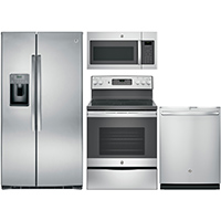 G.E. 4 Pc. Stainless Side-by-Side Kitchen Package - GESTSSXSKT - IN STOCK