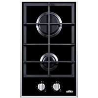 Summit GC2BGL 12 in. 2 Burner Black Gas Cooktop - GC2BGL - IN STOCK