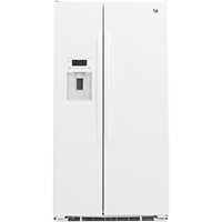 G.E. GZS22DGJWW 22 Cu. Ft. White Side-by-side Counter Depth Refrigerator - GZS22DGJWW - IN STOCK