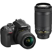Nikon D3400 24.2 MP DSLR W/ DX VR Nikon 18-55mm Kit Lens & 70-300mm Lens - 1573 / D3400BUND - IN STOCK