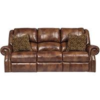 Ashley Signature Design Walworth Auburn Leather Reclining Power Sofa - U7800187 - IN STOCK
