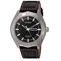 CITIZEN AW006003E Mens Super Quartz Titanium Watch w/ Leather Band - AW006003E - IN STOCK