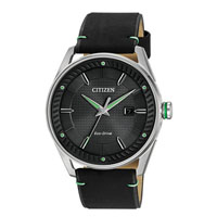 CITIZEN BM698008E Mens Eco-Drive Stainless Steel and Leather Watch - BM6980-08E / BM698008E - IN STOCK