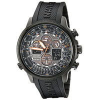 CITIZEN JY803504E Navihawk Mens Eco-Drive Black Stainless Steel and Polyurethane Watch - JY8035-04E / JY803504E - IN STOCK